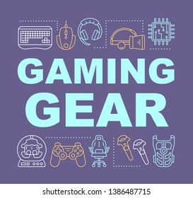 Gaming gear word concepts banner. Esports accessories. Video game devices. Gamer equipment. Presentation, website. Isolated lettering typography idea with linear icons. Vector outline illustration