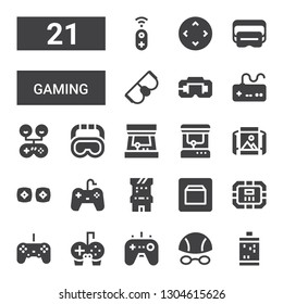 gaming icon set. Collection of 21 filled gaming icons included Slot machine, Goggles, Gamepad, Gamepads, Controller, Poker table, Gaming sdk, Arcade game, Vr, Panoramic view, Arcade machine