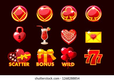 Gaming icon of St.Valentine symbols for slot machines and a lottery or casino. Set 12 in red colors. Game casino, slot, UI