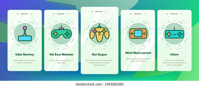Gaming Joystick Vector Onboarding Mobile App Page Screen. Gaming Joystick, Computer Games Accessories Linear Pictograms. Joypads for Playing Video Games, Entertainment Industry Equipment Illustrations