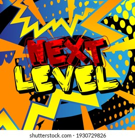 Gaming level, Game progress related words, quote on Comic book style background. Poster, banner, template. Cartoon explosion expression. Vector illustrated.