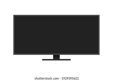 Gaming Monitor, Computer PC Monitor Screen, Widescreen Monitor, Wide Computer Screen in Multiple Angles Vector Object Icon Illustration Background