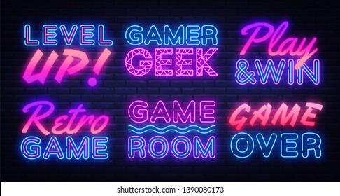 Gaming Neon signs set Vector. Gamer neon sign, design template, modern trend design, night signboard, night bright advertising, light banner, light art. Vector illustration