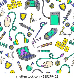 Gaming and web technology seamless pattern background. Vector doodle illustration with game devices