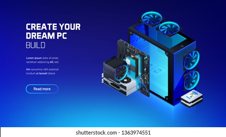 Gaming, workstation and mining computer components set isometric illustration, custom assembly computer components for workstation, pc store and service
