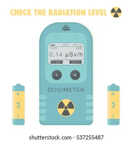 Gamma Radiation Personal Dosimeter with batteries. Check the radiation level. Vector illustration.