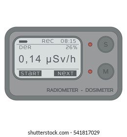 Gamma Radiation Personal Dosimeter. Radiometer. Vector illustration.