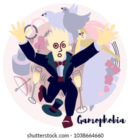 Gamophobia vector illustration with violet colors. Picture is about the most common phobia. Gamophobia - fear of marriage