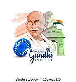 Gandhi Jayanti or 2nd October with creative design illustration, Mohandas Karam Chandra Gandhi Birthday.