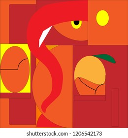 Ganesh Chaturthi Indian god-vector drawing on red and orange color