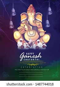 Ganesh Chaturthi, or Vinayaka Chavithi, Hindu festival celebrating the birth of Ganesha poster banner invitation card