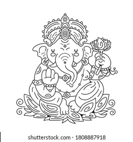 Ganesh indian god character. Vector cartoon character illustration. Isolated on white background. Design for coloring book