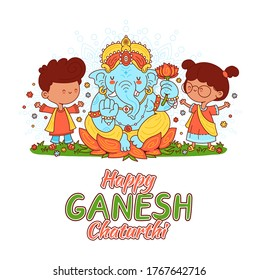 Ganesh indian god and kids character. Vector cartoon character illustration.Isolated on white background. Happy Ganesh Chaturthi card concept