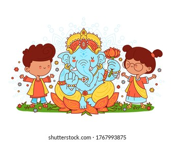 Ganesh indian god and kids character. Vector cartoon character illustration.Isolated on white background.