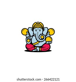 Ganesh symbol. Indian God Ganesha sign. Traditional East Asian Yoga Idol icon. Vector Illustration. Branding Identity Corporate vector logo design template Isolated on a white background