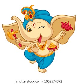 Ganesha elephant cartoon vector illustration for traditional Hindu festival. Isolated happy baby Ganesha elephant in traditional Indian clothes for Ganesha Chaturthi holiday greeting card design