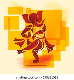 Ganesha or Ganesh Hindu God dance in watercolor painting style. Vector. Eps10.