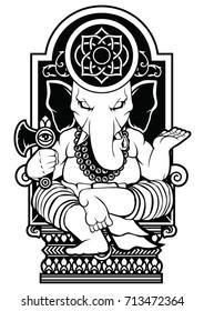 Ganesha God Vector Art Tattoo Design Hindu