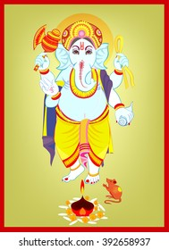 Ganesha , Lord Ganesha, All elements are in separate layers color can be changed easily.