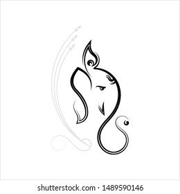 Ganesha The Lord Of Wisdom Calligraphic Style Vector Art Illustration