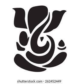 Ganesha stylized in black and white.