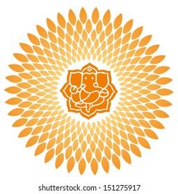Ganesha Sunburst Vector 1