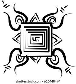 Ganesha Yantra an Indian good luck symbol made before every religious ritual