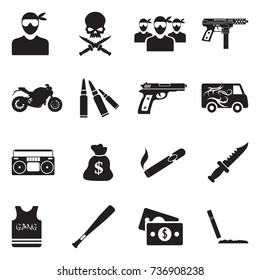 Gang Icons. Black Flat Design. Vector Illustration.