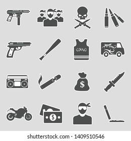Gang Icons. Sticker Design. Vector Illustration.