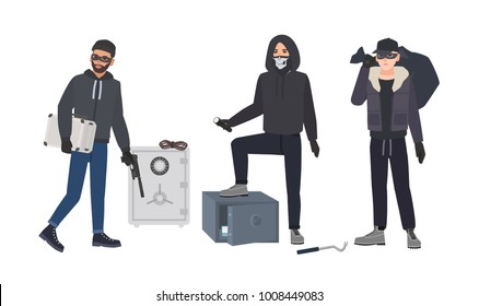 Gang of robbers or burglars dressed in black clothes standing beside opened bank safes. Group of male thieves committing burglary or theft. Flat cartoon characters. Colorful vector illustration.