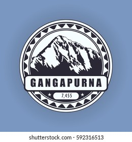 Gangapurna, mountain symbol, abstract patch, with name, and height in meters, vector illustration