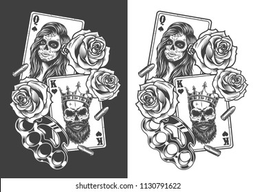 Gangsta concept with playing card, roses and knuckles. Vector illustration