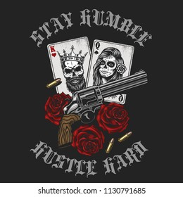 Gangsta concept with playing card, roses and revolver. Vector illustration