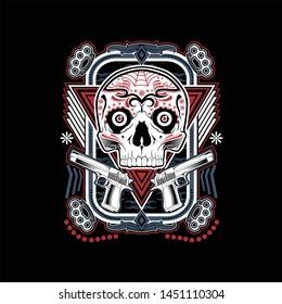 gangsta muerte skull vector art