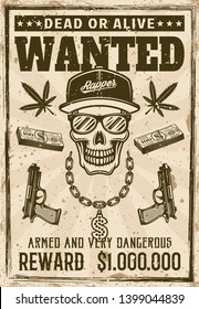 Gangsta rapper skull in snapback cap and sunglasses with money bling chain wanted poster in vintage style vector illustration. Layered, separate grunge texture and text