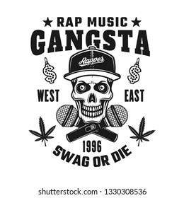 Gangsta rapper skull in snapback and crossed microphones vector emblem, badge, label or logo in vintage monochrome style isolated on white background