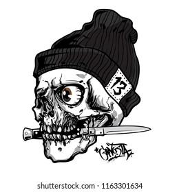 gangsta skull  bite the knife