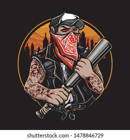 gangster bad boy with a bat stick and red bandana