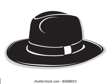 Gangster black hat on the white background 6816e656ca11