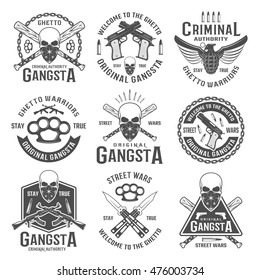 Gangster black white emblems of street wars with crossed weapon skull with bandana isolated vector illustration