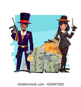 gangster couple with money stack - vector illustration