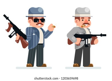 Gangster dangerous retro criminal submachine gun thug prohibition character mafia icon flat design vector illustration