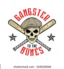 Gangster emblem, label, print, badge with skull in cap and crossed baseball bats
