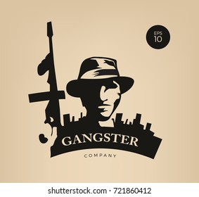 Gangster in front of city holding gun. Gangster badge.