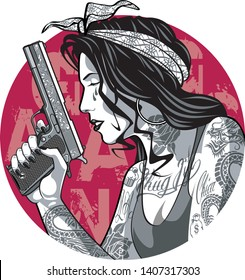 gangster girl with tattoos and gun