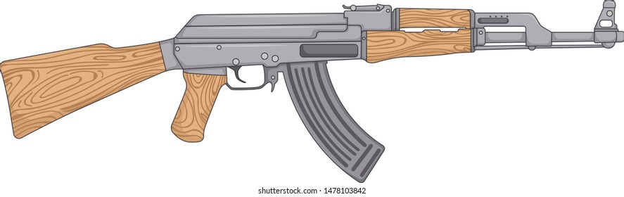 gangster gun ak47 illustration isolated on 3d style