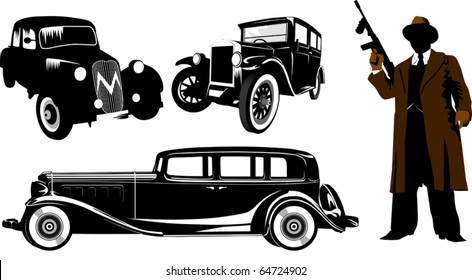 Gangster with a gun and black retro car; Chicago; american; black;