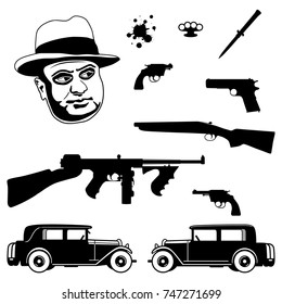 Gangster italian mafia set. 1920 - 1930 years crime related icons of weapons. Mafia boss, brass knuckles, stiletto knife, revolver, pistol, sawed off shotgun, submachine gun and cars. Flat design.