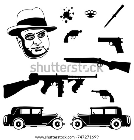 gangster italian mafia set 1920 1930 のベクター画像素材