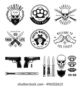 Gangster labels badges emblems design elements set. Gangsta style quotes. Thug life. Stay true. Street wars. Crossed weapon, skull in bandana. Vintage vector illustration.